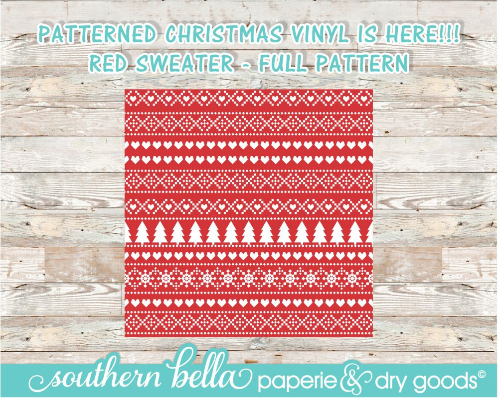 50229d8ce46439 12x12 Christmas Sweater Patterned Vinyl Sheet   Red  HTV   Outdoor or Glitter  HTV