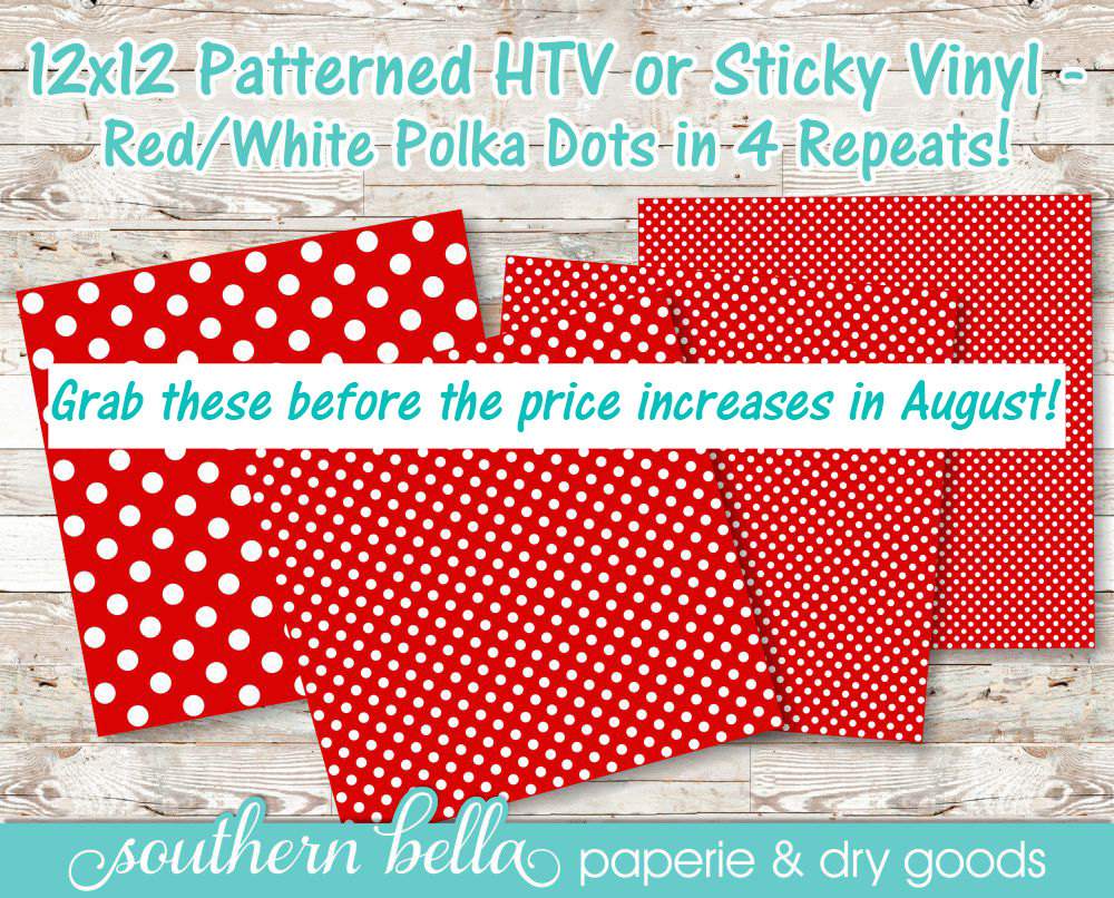 12x12 Patterned Vinyl Sheet Craft Vinyl Red And White