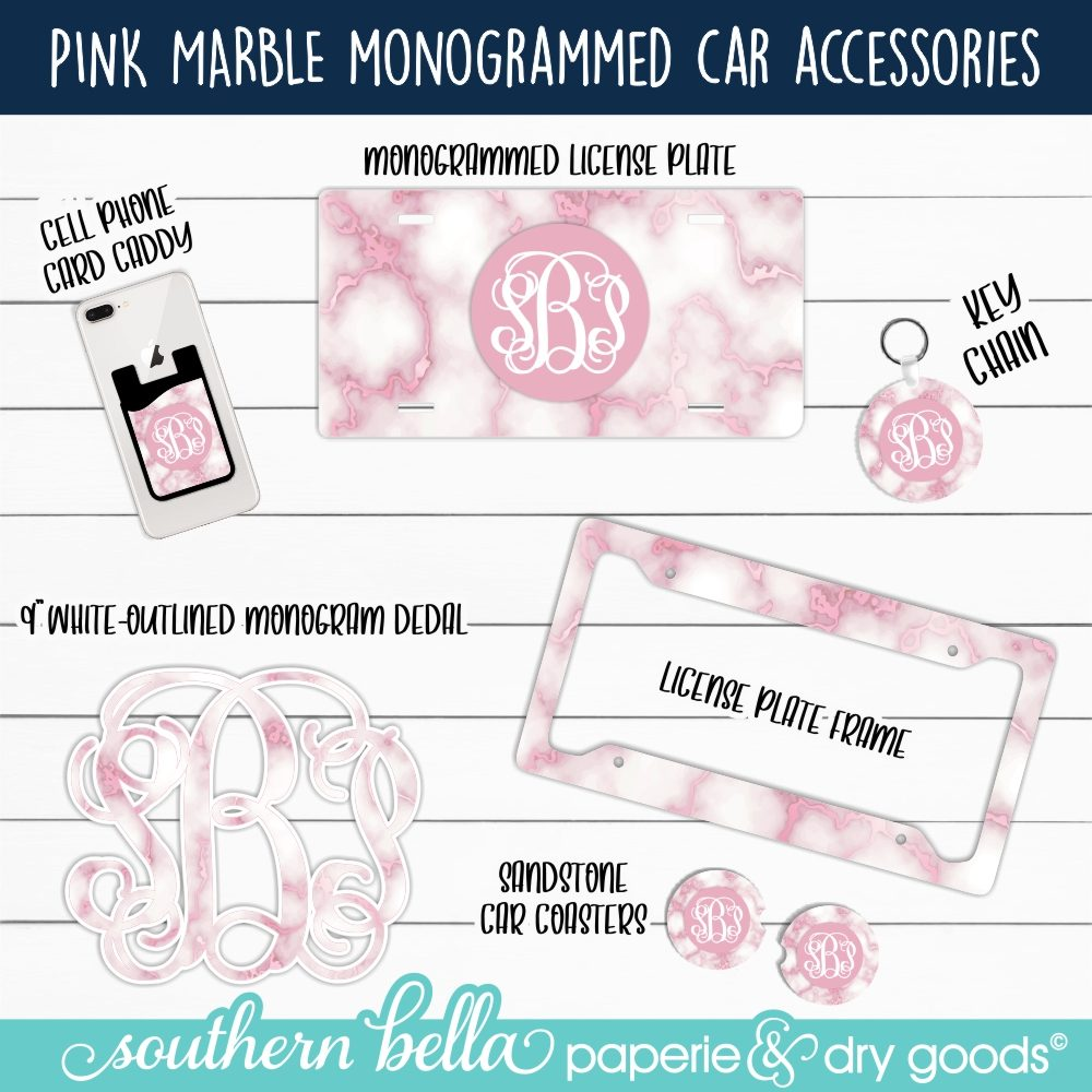 Pink Marble Monogrammed Car Accessories - PKMBLLP -