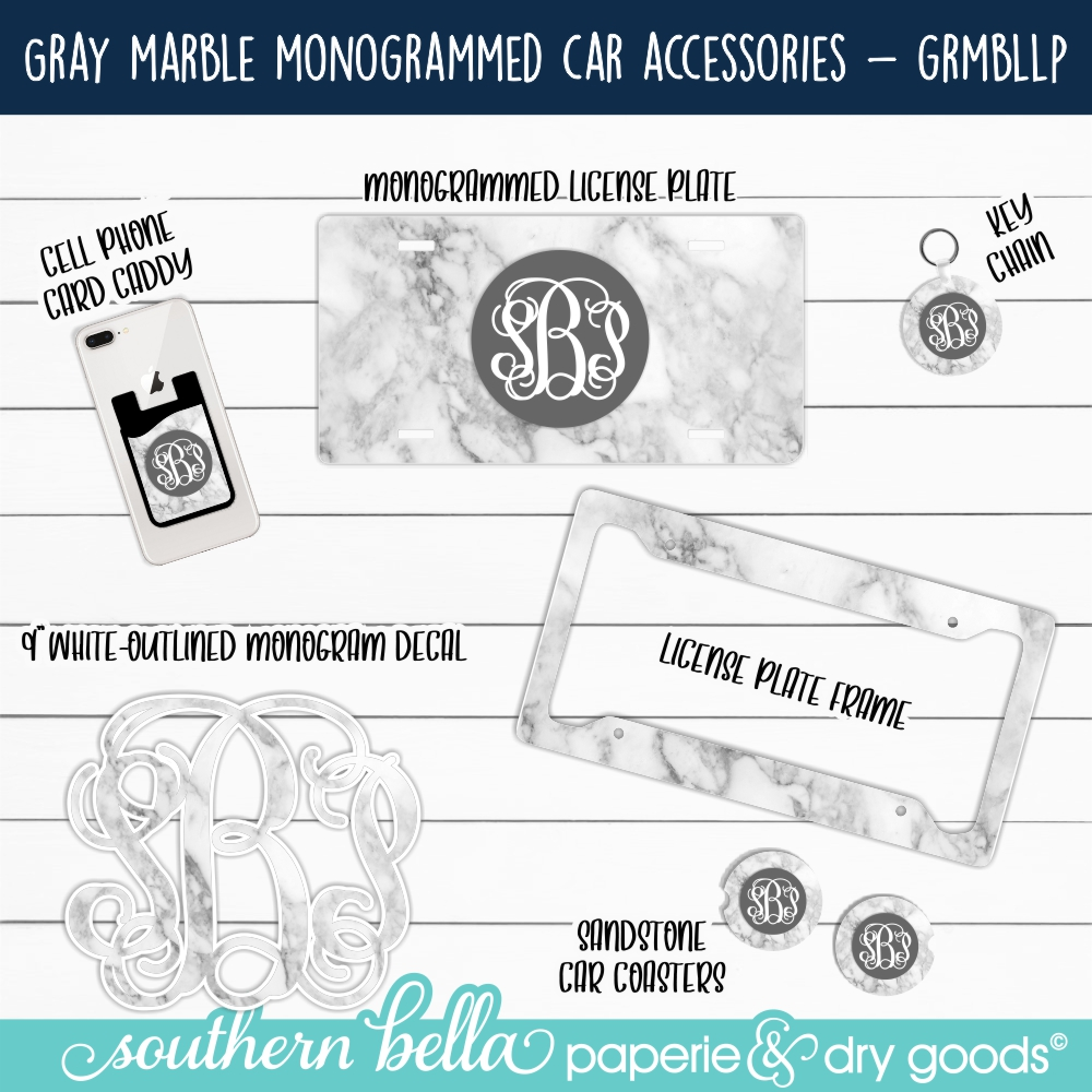 Gray Marble Monogrammed Car Accessories - GRMBLLP -